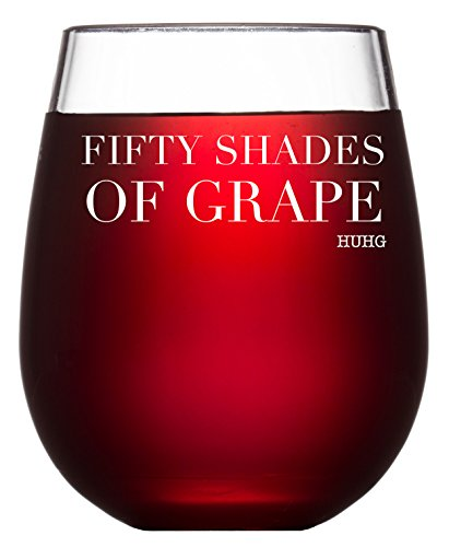 Fifty Shades of Grape Funny Wine Glass - 15 oz Stemless Wine Glasses - Birthday Gift Idea for Wife Mom Girlfriend or Christmas Present for Wine Lovers or Best Friend. (Gift Ideas Christmas $50)