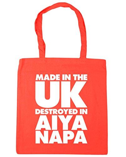 HippoWarehouse fabricado en el Reino Unido destruido en Aiya Napa bolsa de la compra bolsa de playa 42cm x38cm, 10litros Coral