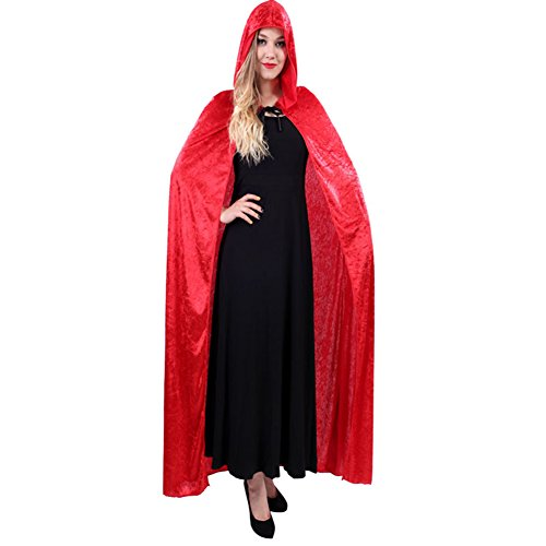 JoyVany Adult Witch Long Halloween Cloaks Hood and Capes Halloween Costumes Red