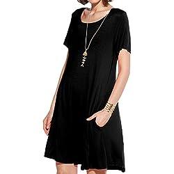 JollieLovin Women's Pockets Casual Swing Loose T-Shirt Dress