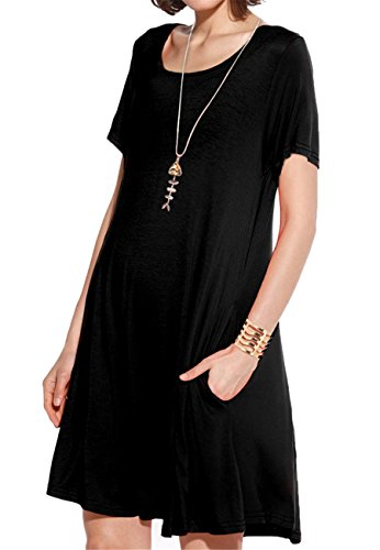 JollieLovin Women's Pockets Casual Swing Loose T-Shirt Dress (Black, M)