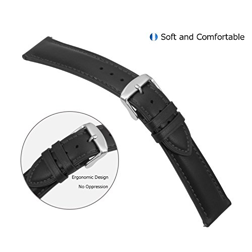Quick-Release-Watch-Band-18mm-Leather-Black-Replacement-Watch-Strap-Genuine-Polished-Watch-Clasp-Buckle-Padded-Super-Soft-18mm-20mm-22mm