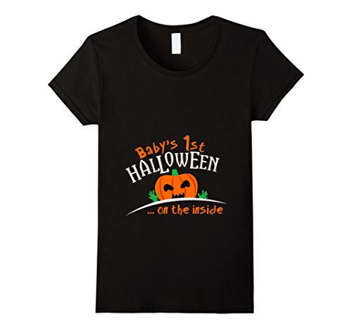 Outside Halloween Ideas (Womens Baby's Pumpkin 1st Halloween On The Outside T-shirt Large Black)