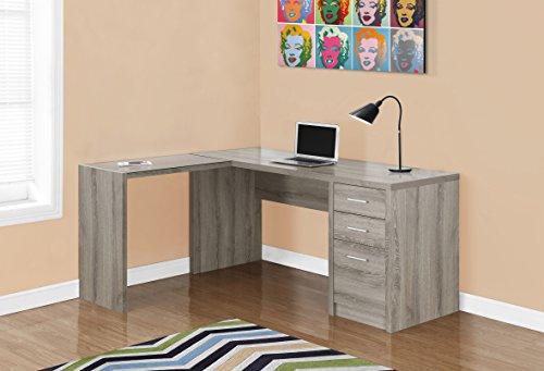 Monarch Specialties I 7138 Dark Taupe Corner with Tempered Glass Computer Desk Monarch Specialties