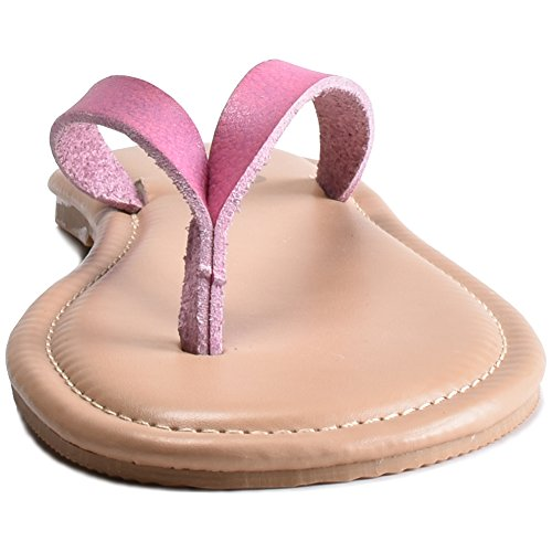 Infradito Piatte Da Donna Estate Boree Con Cintura In Pelle Luminosa Rosa