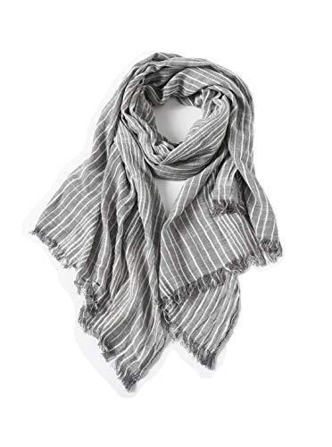 (Women Cotton Scarf Shawl Wrap Tassel Sunscreen Super Soft Lightweight Scarves Stripes (Light grey))