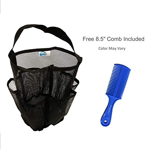 BlueSkyBos Mesh Shower Caddy + Large Comb. All-Black Unisex Portable Hanging Mesh Quick Dry Shower Caddy with Handle, and One 8.5 Plastic Hair Comb with Two Side Tooth (All-Black, 6 X 6 X 9)