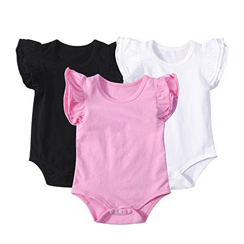 Mubineo Infant Baby Girls Basic 3-5-8-Pack Ruffle Short Sleeve Cotton Bodysuits (Bubble(3-Pack), 2-3 Years) ()