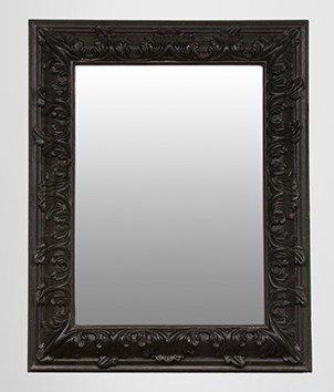 Pompöser Barock Spiegel Rechteckig Schwarz 157 x 124 cm