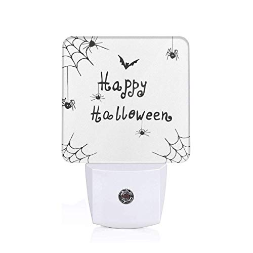 Colorful Plug in Night,Happy Halloween Celebration Monochrome Hand Drawn Style Creepy Doodle Artwork,Auto Sensor LED Dusk to Dawn Night Light Plug in Indoor for Childs Adults]()