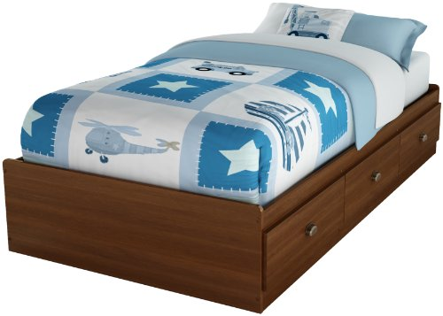 South Shore 3356212 Willow Collection Twin Mates Bed 39-Inch, Sumptous Cherry