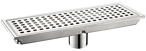 wer Drain Grate with Removable Square Pattern 12 Inch Premium 304 Stainless Steel Floor Basin Set Quadrato Rectangular Tile Insert for Bathroom Home Hotel Brushed Nickel ()