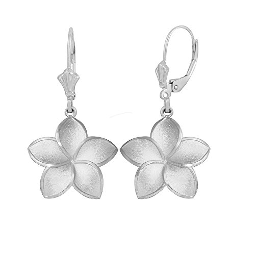 (Matte Finish 14k White Gold Hawaiian Flower Plumeria Dangle Earrings (Medium))