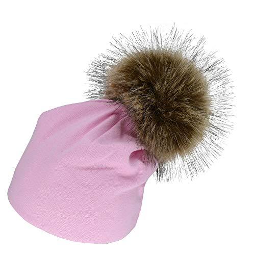 Ankola Baby Kids Winter Warm Cotton Blends Hats, Infant Toddler Children Cute Hairball Beanie Cap Girls Boys (6-24 Months, Pink)