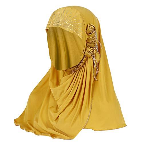 Headbands for Women, Muslim Summer Headscarf Ice Silk Breathable Flower Tassel Fashion Turban Hat Hair Accessories (Yellow)