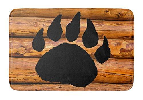 Yesstd Bear paw and logs Absorbent Super Cozy Bathroom Rug Doormat Welcome Mat Indoor/Outdoor Bath Floor Rug Decor Art Print with Non Slip Backing 24