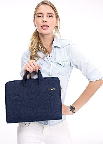 Plemo Laptop Sleeve, Portable Briefcase with Handle for 13-13.3 Inch MacBook Pro, MacBook Air, Notebook, Chromebook, Hp, Dell, XPS (Blue)