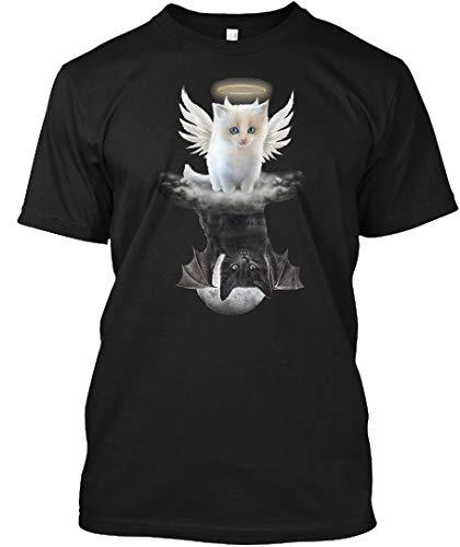 (Cats Angel Devil Tshirt M - Black Tshirt - Hanes Tagless Tee)