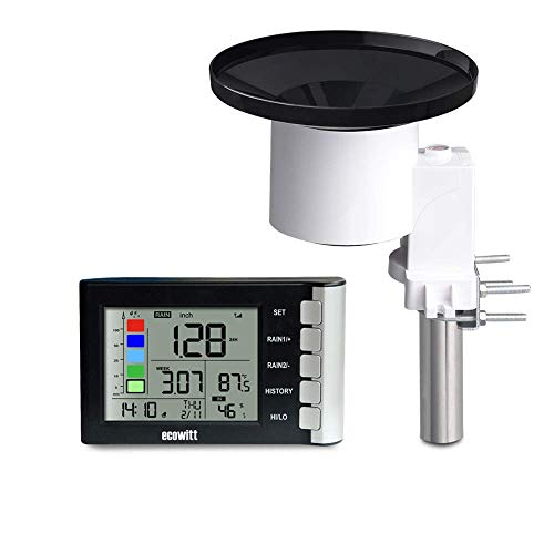 ECOWITT WH5360B High Precision Digital Rain Gauge Wireless Self-emptying Collector with Rainfall Alert Rainfall History Indoor Temperature Humidity - Oregon Scientific Rain Gauge