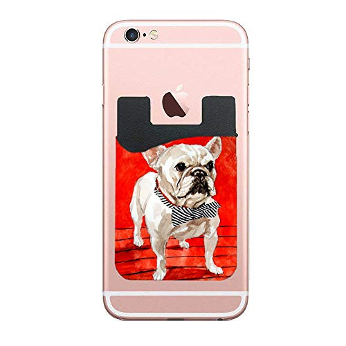 Cell Phone Stick On Wallet, Animal French Bulldogs Credit Card, Business Card & Id Holder, Compatible with iPhone, Android & Most Smartphones