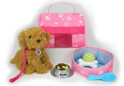 Pets for 18 Inch Dolls Complete Puppy Dog Play Set Perfect Doll Toy fit for 18 Inch American Girl Dolls & More Cuddly Dog Leash Carrier Bed Food & Play Dog Accessories