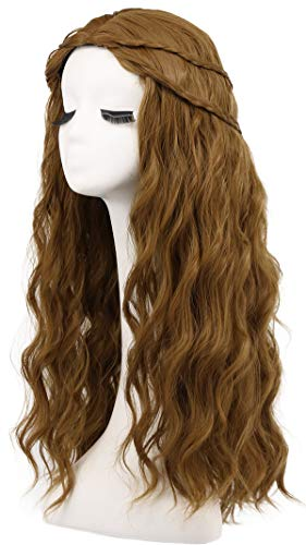 Karlery Women Long Curly Braided Fake Hair Brown Wig Halloween Cosplay Wig Anime Costume Party Wig