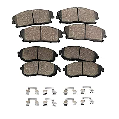 Detroit Axle - FRONT & REAR Ceramic Brake Pads w/Hardware Kit for 04-05 Rainier - [02-05 Trailblazer, Envoy, Bravada] - 03-06 Ascender: Automotive