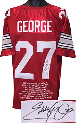 Eddie George Autographed Signed Red Custom Stitched College Football Jersey #27 w/Embroidered Stats XL- JSA Authentic