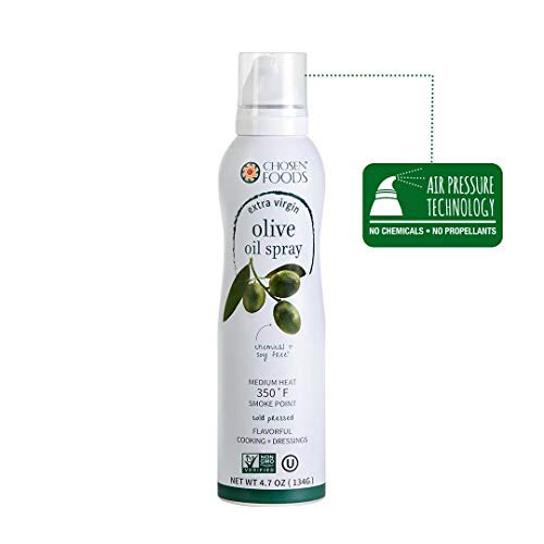 Chosen Foods Extra Virgin Olive Oil Spray 4.7 oz. (2 Pack), Non-GMO, Propellant-Free, Air Pressure Only for Non-Stick Cooking, Healthy Recipes by Chosen Foods