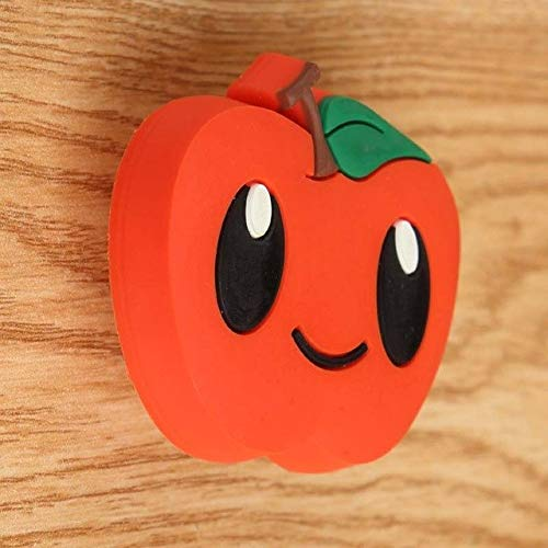 Kid,s knobs cute cartoon children room soft rubber safety handle red black white Strawberry Crown apple drawer shoe cabinet knob - (Color: apple)