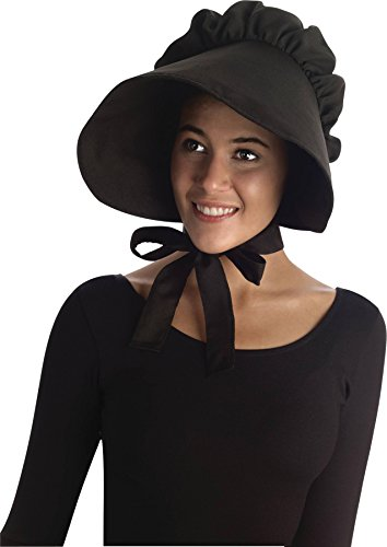 [UHC Old Amish Style Bonnet Hat Pilgrim Colonial Theme Party Halloween Accessory ,Black] (Amish Hats)