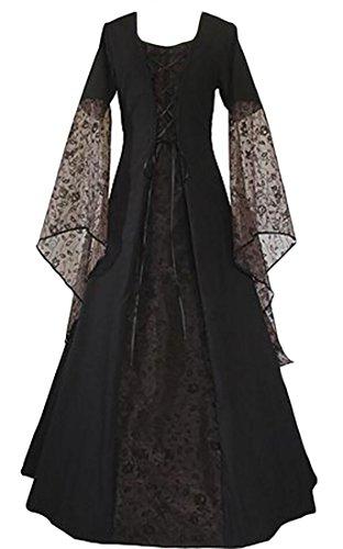 ouxiuli Women Medieval Dress Lace Up Vintage Floor Length Long Dress Black XL