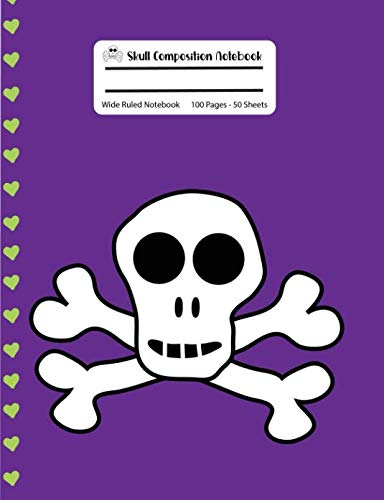 Skull Composition Notebook: Purple with Green Hearts Skull and Crossbones Wide Ruled Notebook, 100 Pages, 7.44x9.69
