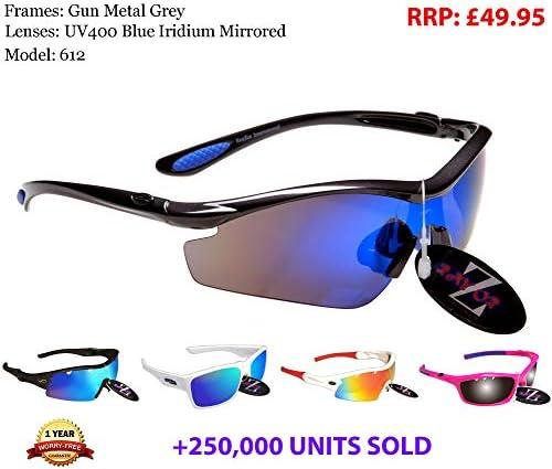 571 RayZor Uv400 Sports Wrap Sunglasses Gun Metal Grey Red Mirrored Lens RRP£49
