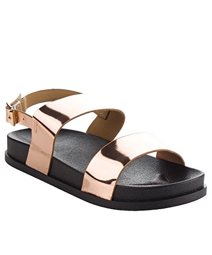 CAPE ROBBIN Womens Metallic Double Strap Flatform Ankle Strap Open Toe Sandals Rose Gold 49aNhnAG