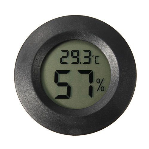 LCD Digital Cigar Humidor Thermometer Hygrometer Temperature Round Black Face by Generic