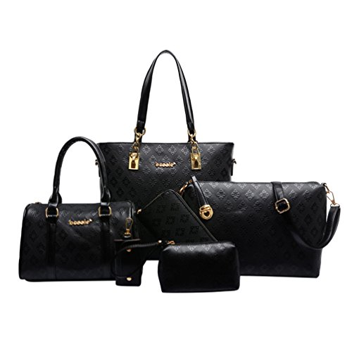 Solid Kairuun Nylon Handbag Set 6 chain Color Lxblack Piece Waterproof Bag Key Women Tote Clutch Purse rxUwEx
