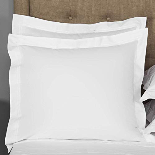 Crown Collection Hotel Beddings 600-Thread Count 100%-Egyptian Cotton 2-Piece Pillow Shams White Solid Euro 26x26 Size Free & Fast Shipping
