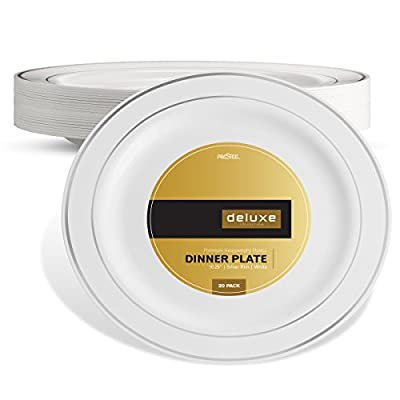 DELUXE PLASTIC PARTY DISPOSABLE PLATES | 10.25 Inch Hard Wedding Dinner Plates | White with Silver Rim, 20 Pack | Elegant & Fancy Heavy Duty Party Supplies Plates for all Holidays & Occasions