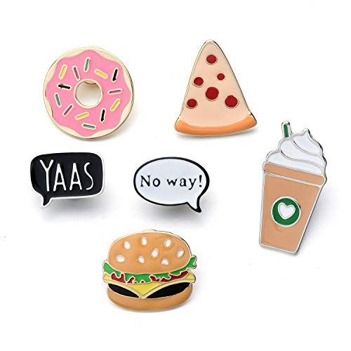 - Cartoon Enamel Ice Cream Hamburgers Food Coffee Pin Set Brooches Patches Backpacks