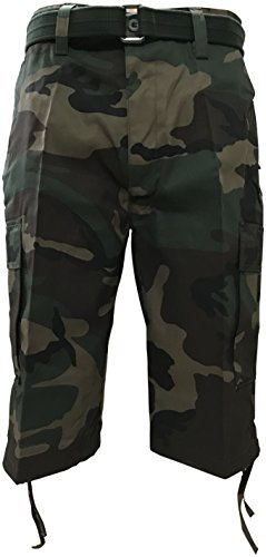 (Regal Wear Mens Camouflage Cargo Shorts with Belt, Camo Woodland, 38)