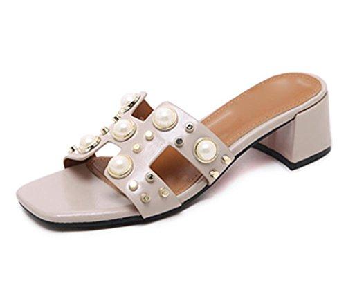 La Sra zapatillas con diamantes de imitación en sandalias mujer salvaje dulce gruesa con sandalias y zapatillas femenina palabra apricot