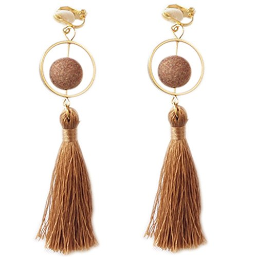 Lovely Gold Plated - Clip On Earrings Round Tassel Earrings Dangle Hairball Sweet Gold Plated Lovely Gift