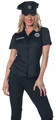 (Underwraps Women's Plus-Size Police Fitted Shirt, Black,)