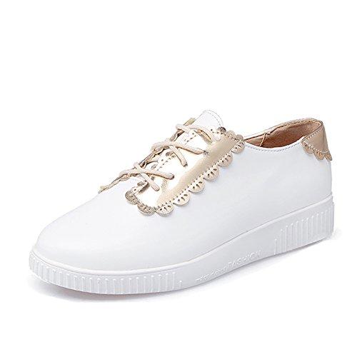 Zapato de boca profunda bajo/Color matching zapatos flat-bottom/Zapatos del estudiante blanco A