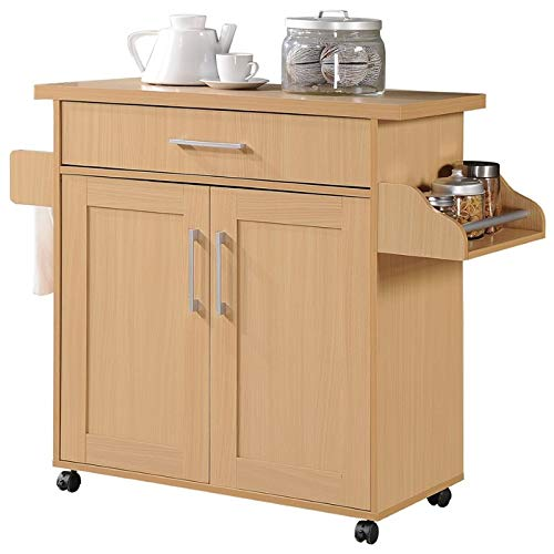 (Pemberly Row Kitchen Island with Spice Rack in Beech )