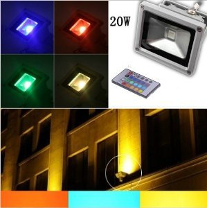 WoneNice 20W Waterproof Outdoor Security LED Flood Light Spotlight High Powered RGB Color Change(16 Different Color Tones) +Remote Control AC85V-265V