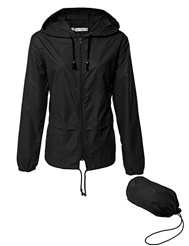 LOMON Waterproof Rain Jacket Women Waterproof Hood Lightweight Raincoat Outdoor Windbreaker Rain Jacket Black XXL