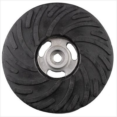 """Air-Cooled Rubber Back-Up Pads Style: Dia.:4 1/2"""", Hardness Grade:Medium, Face Ribbed"""