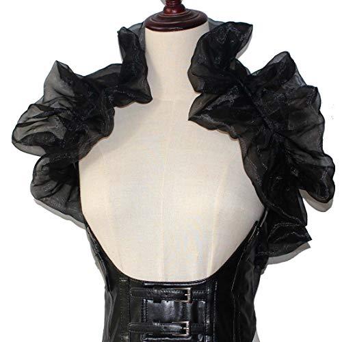 MAYSONG Women's Ruffled Bolero Collar Scarf with Ruffles Black ()